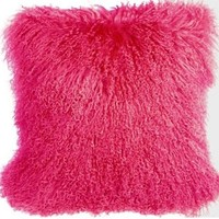 "Pillow Decor - Mongolian Sheepskin Hot Pink 18"" x 18"" Decorative Throw Pillow"