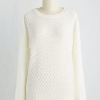 Mid-length Long Sleeve Consider It Casual Sweater in Ivory
