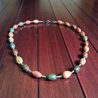 Colorful Picasso Jasper Gemstone & Nickel Silver Beaded Necklace