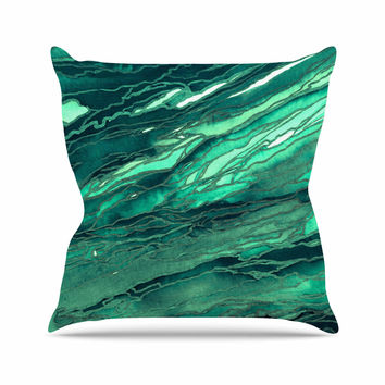 "Ebi Emporium ""Agate Magic - Teal Green Multi"" Jade Painting Throw Pillow"