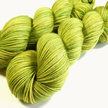 Hand Dyed Yarn - Sport Weight Superwash Merino Wool Yarn - Lettuce Tonal - Knitting Yarn, Sock Yarn, Wool Yarn, Green