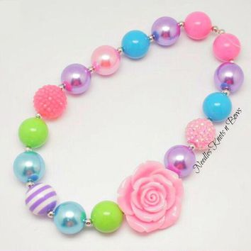 Girls Single Rose Pastel Bead Chunky Bead Bubble Gum Necklace,Girls Jewelry, Baby Girl, Toddler Necklace, Women