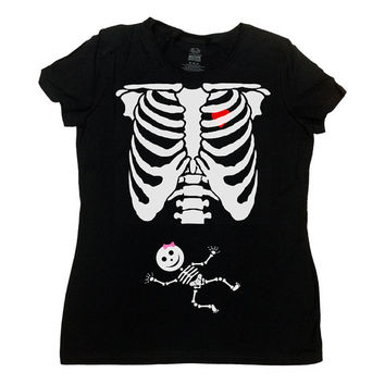 Pregnant Skeleton Shirt Halloween TShirt Baby Announcement Girl Skeleton Baby Girl Pregnancy Funny T-Shirt Maternity Ladies Tee - SA379
