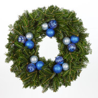 24 in. Blue Christmas - Fraser Fir Real Christmas Wreath (Fresh Cut, Live)