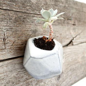 Angled B&w Wall Hanging Planter