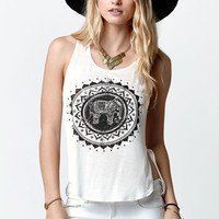 LA Hearts Elephant Side Slit Tank Top - Womens Tee - White