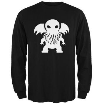 ICIK8UT 8-Bit Cthulhu Black Adult Long Sleeve T-Shirt