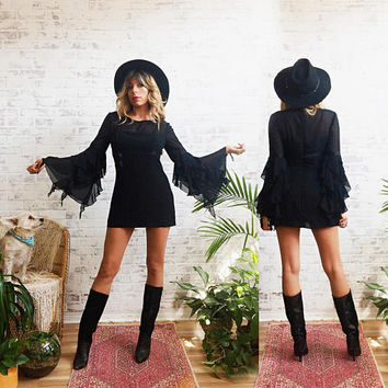 Vintage 1980's BLACK Magic Woman Ruffled Stevie Nicks Witchy Gypsy Fairy Goth Mini Dress || Size Small