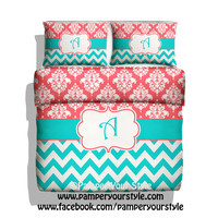 Chevron and Damask Bedding - Coral and Aqua bedding -  Mongrammed, Personalized Duvet or Comforter - Pick Your Color and Size