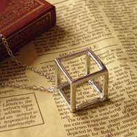 antique silver steampunk hollow out cube ring necklace jewelry