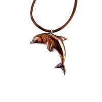 Dolphin Necklace, Dolphin Pendant, Wooden Dolphin Pendant Necklace, Dolphin Jewelry, Nautical Jewelry, Wood Jewelry, Carved Wooden Pendant