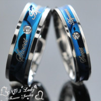 Love Couple Rings, Blue Wedding Engagement Korean Stainless Steel Jewelry, His and Hers Promise Ring Sets