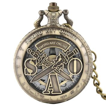 Theme of Sword Art Online Hot Anime Hollow Quartz Pocket Watch Men Women SAO Double Sword Pattern Necklace Rotated Cosplay Gift