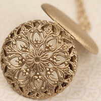 Large Gold Floral Filigree Long Locket Necklace, Huge, Round Pendant, Ornate Flower Design, Big Jewelry