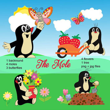 The Mole, cute character for kids, cartoon, clipart, flowers, butterflies, children