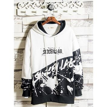 Spring and autumn sweater men's hooded Korean version of the trend of students personality color hoodie printed letter coat
