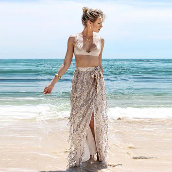 2016 Boho Sequin Fashion Beach Women Bohemian Hot Sexy Short Dresses Long Maxi Wrap Skirts For Evening Party