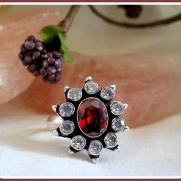 Hessonite Garnet & White Topaz Sterling Silver Ring & Celestial Box Set