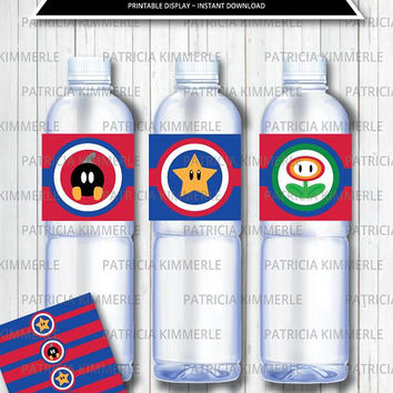 Printable Bottle Labels, Mario Brothers, Video Game Party, Super, Gaming, Level Up, Gamer, Birthday, Decorations, DIY,  INSTANT DOWNLOAD
