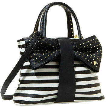 Betsey Johnson Shopper Handle Stripe Bag