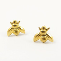 Golden Honey Bee Earrings