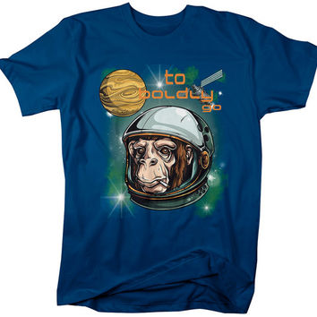 Funny Hipster To Boldly Go Space Chimp T-Shirt Graphic Printed Tee Hip Gift Idea Outer Space