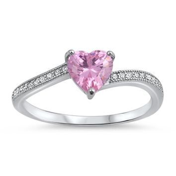 Choose Color Heart Ring for Women Rhodium Plated Sterling Silver Heart CZ Cubic Zirconia Simulated White Opal Promise Ring