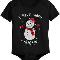 I Love Warm Hugs Snowman X-mas Infant Bodysuits Cute Christmas Baby Onesuits
