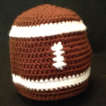 Crochet Football Baby Hat - Size Preemie, Newborn, Baby, and Toddler