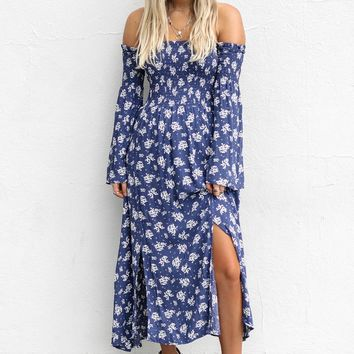 Without Words Navy Off The Shoulder Dress