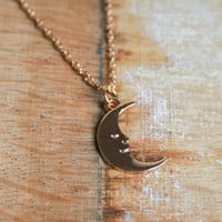 Goodnight Moon Pendant, Gold Crescent Necklace, Dainty Simple Modern Necklace