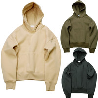 Very good quality nice hip hop hoodies with fleece WARM winter mens kanye west hoodie sweatshirt swag solid Olive YEEZY pullover