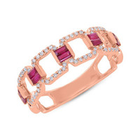 0.13ct Diamond & 0.35ct Ruby 14k Rose Gold Ring