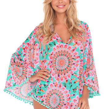 Luli Fama Swimwear Dream Catcher Pom Pom Poncho