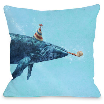 """Party Whale"" Indoor Throw Pillow by Terry Fan, 16""x16"""