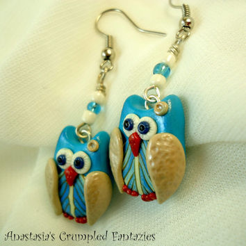 Blue beige feather owl earrings, Handmade polymer clay fimo little owl modern jewelry, Cute forest creature kawaii, Bird wing accessories