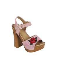 Pink Denim Embroidered Retro Platform Sandals