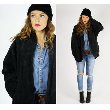 black leather BOMBER jacket suede zip up OVERSIZED os coat LARGE unisex usa