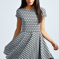 Natalie Daisy Jaquard Skater Dress