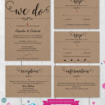 DIY Wedding Invitation Set Template, RSVP, Details Card,Reception, Instant Download, Digital, Kraft We Do Dangling Heart #1CM83-1