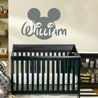 Name Wall Decal Mickey Mouse Head Ears Disney Vinyl Decals Sticker Custom Decals Personalized Baby Boy Name Decor Bedroom Nursery Baby Room Decor ZX137
