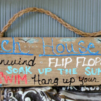 Beach House Rules Handmade Driftwood Sign , Typography  , Coastal Decor