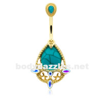 Golden Elegant Turquoise Vintage Aurora Belly Button Ring 14ga Navel Ring