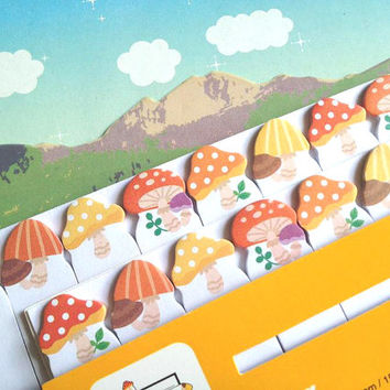 Adorabel plant mushroom sticky note mini mushroom stick marker cute sticky paper note orange mushroom Business Agenda memo diary index paper