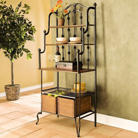 Elegant Black Metal Bakers Rack with 2 Rattan Storage Baskets