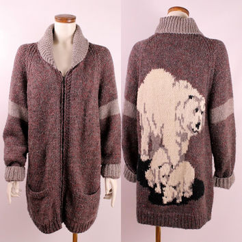 Vintage Cowichan Purple Wool Knit White Polar Bear Long Zip Up Rolled Collar Sweater Jacket