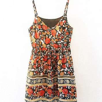 Polychrome V-neck Floral Spaghetti Strap Mini Dress