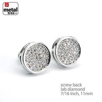 Jewelry Kay style Men's Iced Out Bling Silver Plated Flat Round Screw Back Stud Earrings BE 011 S