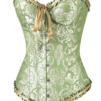 Green Brocade Steam Punk Corset - All Sizes