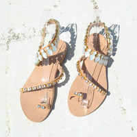 Leather Swarovski Gladiator sandals! Many colours! Gladiator sandals, Bridal boho. hippie, indie, bohemian, LUXURY sandals, posh sandals
